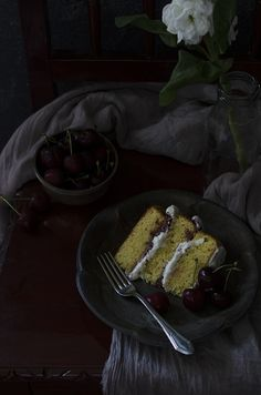 Cherries and Cream, Almond Cake