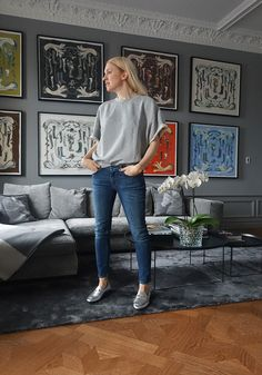 Emilia de Poret in Slim Denim http://www.toteme-nyc.com/shop/ss16/slim-denim?color=mid-blue-wash