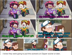 """""""Dipper instantly recognizes just how uncomfortable this interaction is, and his mutterings in response to Mabel's """"Now you know how she feels, creep!"""" speak volumes. It's a great, unexpected way to make totally clear that Dipper—and, more importantly, the show—understands why it was time to move on from that crush.""""--> Finally a TV show that addresses this. It made my squeal I'll be honest, but it was awesome for Dipper to have Wendy's perspective in this situation."""