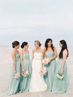 Color Inspiration: Modern Mint Wedding Ideas - bridesmaid dresses; Carmen Santorelli Photography