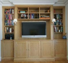 Oak dresser and fitted TV cabinet with storage under and book shelf surround. Bespoke Furniture, Furniture Design, Oak Dresser, Tv Cabinets, Joinery, Bookshelves, Shelf, Storage, Home Decor
