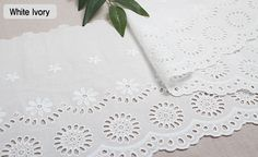 "1y Embroidery scalloped cotton eyelet lace White-Ivory 9.4"" 24cm sh12 laceking"