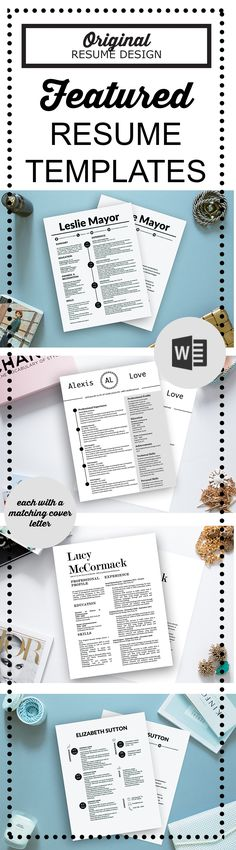 Featured resume templates for Microsoft Word by Original Resume Design