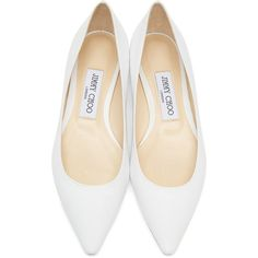Jimmy Choo White Leather Romy Ballerina Flats ($515) ❤ liked on Polyvore featuring shoes, flats, white pointed toe flats, ballet flats, ballerina flats, leather sole shoes and leather flats