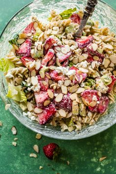 This creamy strawberry feta pasta salad is absolutely delicious, feeds a crowd, keeps for days in the refrigerator, and has homemade poppy seed dressing!