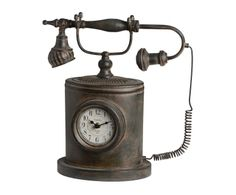 """Hodiny """"Telephone"""", 16 x 36 x 38 cm Clock, Country, Telephone, House, Home Decor, Watch, Decoration Home, Rural Area, Phone"""