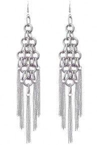 Silver Chain Statement Link Earrings