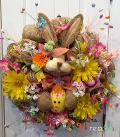 ON SALE Burlap Easter Bunny Wreath in Pink & Yellow with Bunny Head -Easter Wreath-Easter Decor -Spring Decor -Front Door Decor -Door Wreath by WishingWellWreaths on Etsy