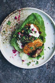 Lentil and Rice Patties with Dates, Pomegranate and Feta
