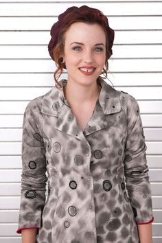 """100% organic lightweight cotton jersey. Hand-stitched in our Faded Dots fabric with Carmine interior. Assorted accents include beading, embroidery floss, and hand-drawn circles. Measures 35"""" from shoulder. Sold as shown. Free Shipping. Made in the USA."""