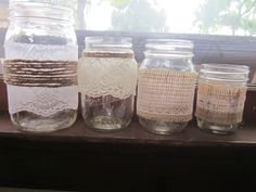 Lace Mason Jar Candle Holder - Vase - Wedding Centerpiece - Burlap - (Set of 4) - mix and match. $26.00, via Etsy.