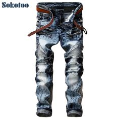 e48f6574 Sokotoo Men's fashion slim straight biker jeans Casual acid snow wash denim  pants Pleated long trousers-in Jeans from Men's Clothing & Accessories on  ...