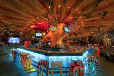 Animal Kingdom - Rainforest Cafe Bar Love the bar stools Rainforest Cafe, Hotels For Kids, Restaurants, Downtown Disney, Walt Disney, Disney Dining, Disney Springs, Animal Decor, Cafe Interior