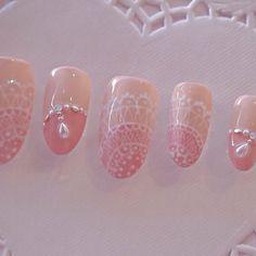 Nail Stamping Designs, Pink Nail Designs, Bride Nails, Wedding Nails, Spring Nails, Summer Nails, Claw Nails, Japanese Nail Art, Round Nails