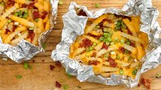 Frozen French fries work great on the grill! These grilled cheesy fries go from frozen to table in a flash!