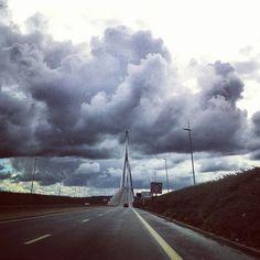 The Bridge of Normandy that unites Le Havre with Honfleur...