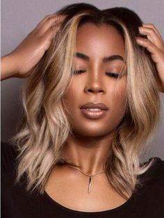 Fashion shoulder length grey synthetic natural wavy hair wigs - The Right Hair Styles My Hairstyle, Wig Hairstyles, Fancy Hairstyles, Beautiful Hairstyles, Natural Hair Hairstyles, Beyonce Hairstyles, Fringe Hairstyle, Black Hairstyles With Weave, Curly Haircuts