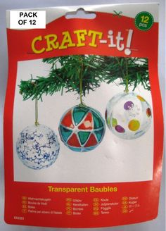 12 x Clear 2 Part 5cm Plastic Christmas Baubles + Gold Cord Xmas Craft Gift New