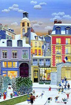 Cellia Saubry Charming 'Naive' art of neighborhoods of Paris. I' neige Rue des Blanc Manteaux. Illustration Noel, Winter Illustration, Henri Rousseau, Naive Art, Claude Monet, Christmas Art, Art History, Amazing Art, Folk Art