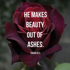 """If you have said in your heart, """"I have lost everything. I have nothing left in my life."""" Remember, God makes beauty out of ashes. God can make all things new for you, better than before, if you just..."""