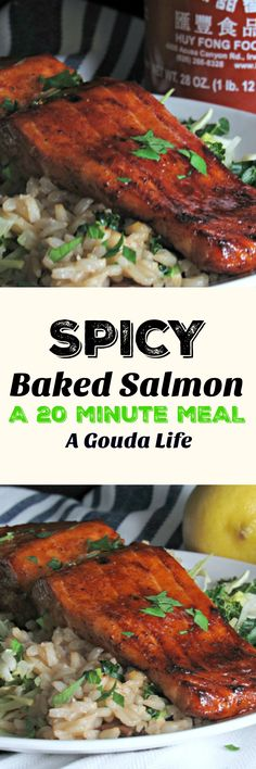 Just 4 ingredients and 20 minutes oven to table, spicy, melt in your mouth tender salmon. Weeknight, entertain, any night. http://www.agoudalife.com/spicy-baked-salmon/