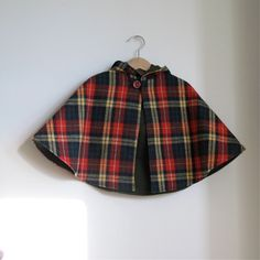 Wool Plaid baby or toddler hooded children's cape - boy or girl unisex - red, yellow, blue, green plaid lined with green flannel. $55.00, via Etsy. #pinparty