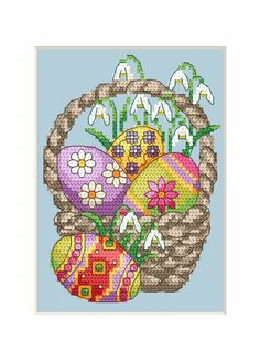 Easter basket with eggs and snowdrops Xmas Cross Stitch, Cross Stitch Cards, Cross Stitch Flowers, Cross Stitching, Cross Stitch Embroidery, Embroidery Patterns, Cross Stitch Patterns, Easter Cross, Cross Stitch Pictures