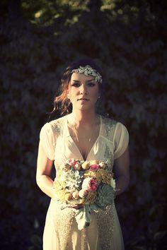 Aiguille Gown + Coppice Headband from BHLDN | via: wedding party app | #BHLDNbride