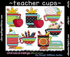 Teacher Cups Clip Art - Commercial Use, Digital Image, Png, Clipart - Instant Download - Tea Cup, Coffee Cup, Classroom by ResellerClipArt on Etsy