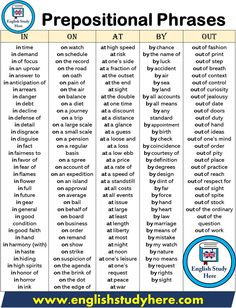 Prepositional Phrases - English Study Here English Prepositions, English Idioms, English Phrases, Learn English Words, English Study, English Lessons, English Vinglish, French Lessons, Spanish Lessons