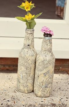 "I love the simplicity here. Also, it's a lovely way to #Reuse old bottles that're lying around in your house and a great way to #Recycle your old newspapers. #DIY #Crafts | ""DIY"""