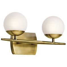 Buy the Kichler Natural Brass Direct. Shop for the Kichler Natural Brass Jasper 2 Light Bathroom Vanity Light and save. Brass Bathroom, Bathroom Light Fixtures, Bathroom Wall, Small Bathroom, Vanity Bathroom, Downstairs Bathroom, Bathroom Things, Bathroom Stuff, Attic Bathroom