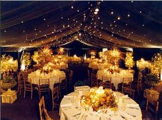 """I'm really interested in using twinkle lights for my wedding reception. I love how they used the lights with the fabric """"ceiling"""""""