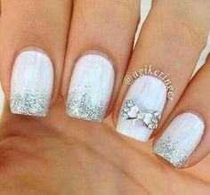 Glam Nails, Beauty Nails, Fun Nails, Pretty Nails, Bride Nails, Wedding Nails, Bridal Nails Designs, Nail Designs, Beautiful Nail Art