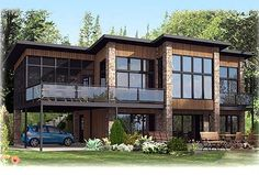 Contemporary Home Plan With All Beds Down - 90241PD   Modern, Canadian, Metric, Narrow Lot, CAD Available, Lower Floor Master, PDF, Corner Lot, Sloping Lot   Architectural Designs