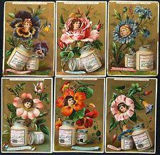 Figurine Liebig - Italia - Sang. 267 - Fiori con teste di bimbi nel centro 1890