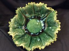 Bowl by Susan Garrett Opulence Emerald with Mayco Sky Diamonds on top Cone 6