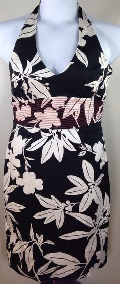 TOMMY BAHAMA DRESS SZ 6 MULTI-COLOR BLACK & WHITE FLORAL HALTER SASSY  #TommyBahama #Casual