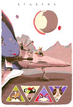 """Moons Over Corneria"" Starfox Print by Zac Gorman - OMG Posters! Star Fox, Super Smash Bros, Video Game Art, Video Games, Fox Mccloud, Omg Posters, Fox Games, Fox Pictures, Nintendo"