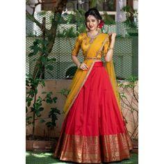 Half Saree Lehenga, Lehenga Choli Designs, Lehnga Dress, Sari, Saree Gown, Kids Lehenga, Kerala Saree Blouse Designs, Half Saree Designs, Bridal Blouse Designs