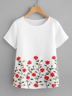 SheIn offers Flower Embroidery Short Sleeve Top & more to fit your fashionable needs. Fabric Paint Shirt, Fabric Painting On Clothes, Paint Shirts, T Shirt Painting, Painted Clothes, Embroidery On Clothes, Embroidery Suits, Embroidered Clothes, Embroidery Fashion