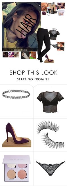 """""""Untitled #4990"""" by bby-16-gul ❤ liked on Polyvore featuring Christian Louboutin, Trish McEvoy, Anastasia Beverly Hills and L'Agent By Agent Provocateur"""