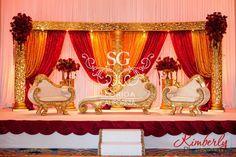 Suhaag Garden, Florida Atlanta California Indian wedding decorators, Muslim reception, red and gold curtains, stage