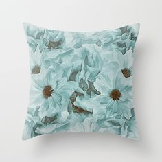 Soft Slate Blue Floral Abstract Throw Pillow