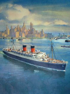 1950's Mauretania Cunard Ocean Liner Vintage Travel Ship Poster