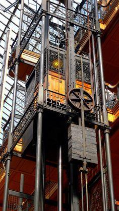 Elevator lift in the Bradbury Building. Los Angeles, California. #steampunk #industrial