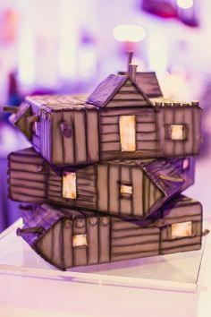 Red and Purple Wedding- Cabin in the Woods Groom's Cake