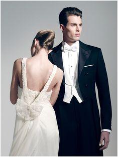 glamour wedding dress with groom in tuxedo | Groom Style