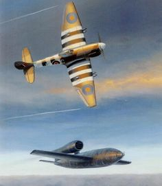 Hawker Tempest intercepting a flying bomb - Mark Postlewhaite ~ BFD Ww2 Aircraft, Fighter Aircraft, Military Aircraft, Adolf Galland, Air Fighter, Fighter Jets, Military Art, Military History, War Thunder