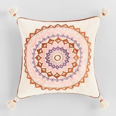Oatmeal Embroidered Medallion Sol Throw Pillow: Pink – Cotton – Square by World Market – accent pillow living room Handmade Throw Pillow, Couch Accessories, Toss Pillows Couch, Toss Pillows, Throw Cushions, Pillows, Medallion Design, Decorative Pillows, Throw Pillows